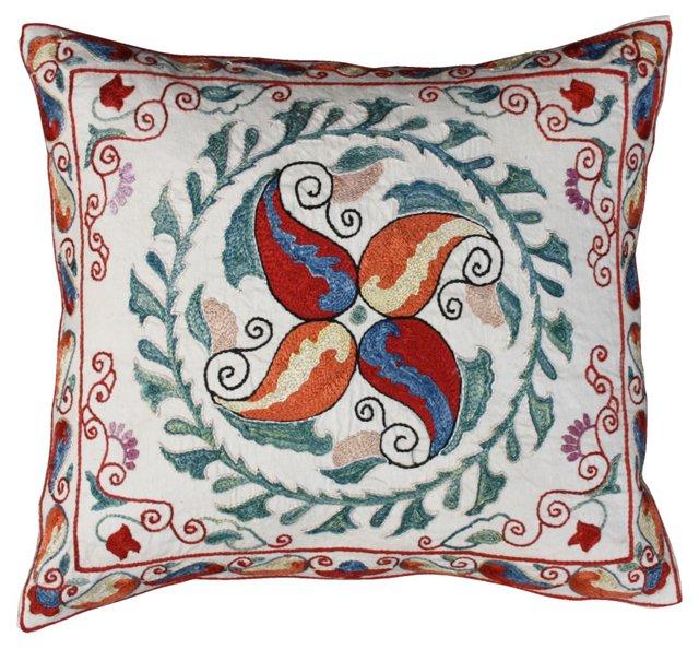 Hand-Embroidered Uzbek Silk Sham