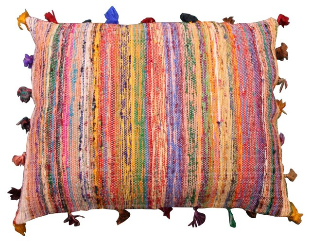 Striped Boucherouite     Pillow