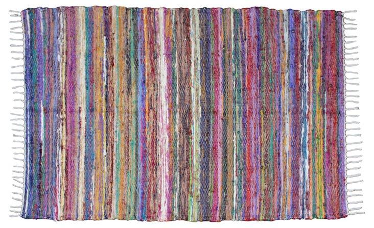 Pink-Striped Boucherouite, 6' x 4'