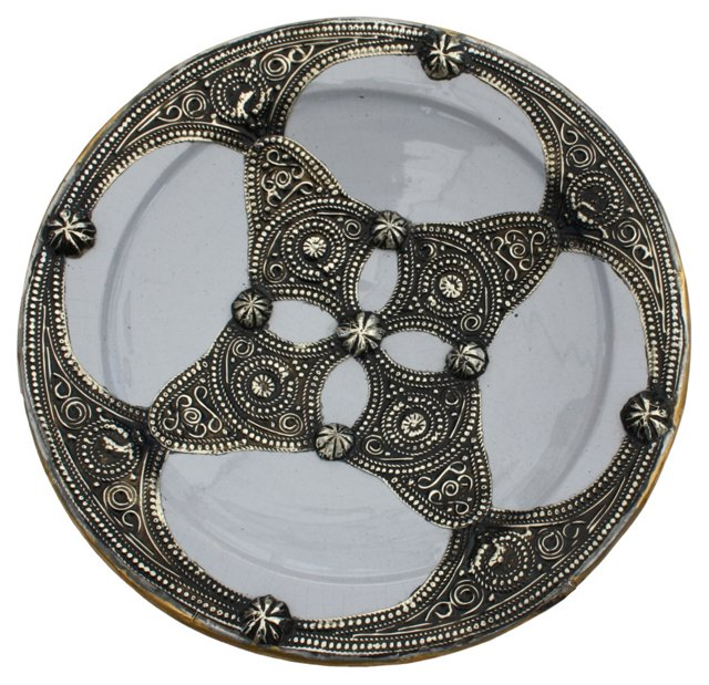 Blue Moroccan Wall Plate w/ Silver