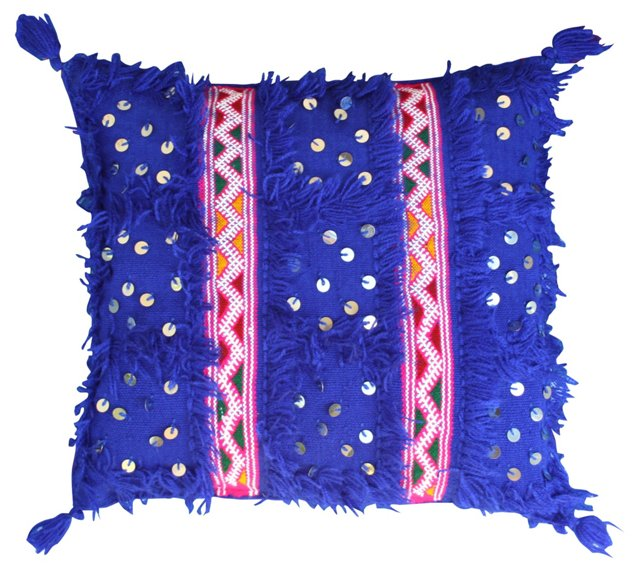 Blue Moroccan Sham w/ Pink Stripes