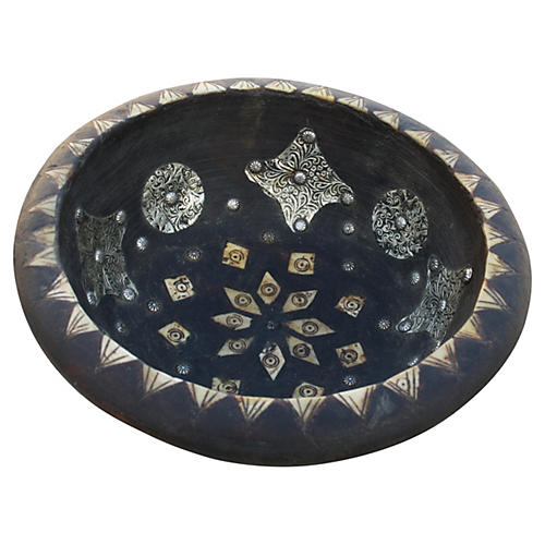 Moroccan Bowl w/ Silver & Bone Inlay