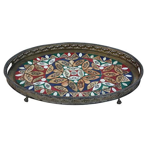 Moroccan Brass Tray w/ Bone Inlay