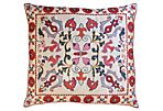 Uzbek Silk Sham w/ Colorful Pattern
