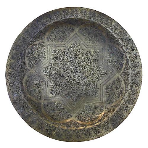 Moroccan Brass Tray w/ Moorish Engraving