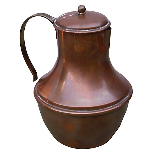 French Copper Water Pitcher w/ Lid