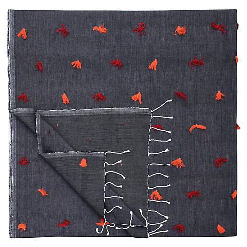 Moroccan Berber Blanket w/ Orange Tufts