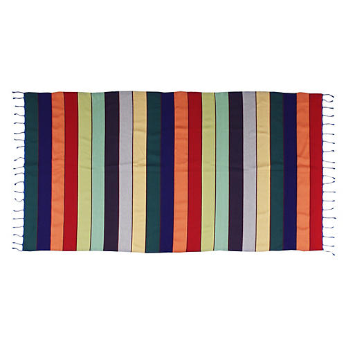 Moroccan Throw w/ Colorful Stripes
