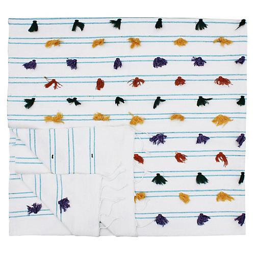 Moroccan Berber Blanket w/ Blue Stripes
