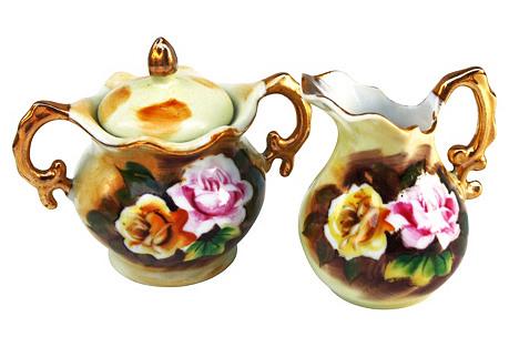 Floral Sugar & Creamer w/ Gold & Pink