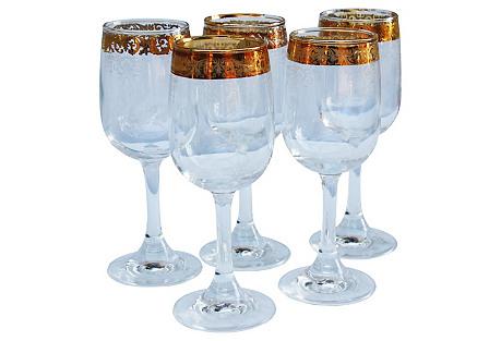 Midcentury Gold Pattern Wine Stems, S/5