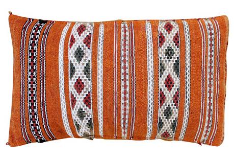 Orange & Diamonds Moroccan Berber Pillow