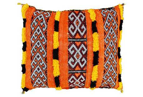Orange Berber Pillow w/ Fine-Motifs