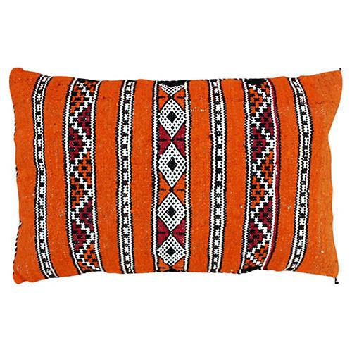 Orange Berber Pillow w/ Diamond Stripes