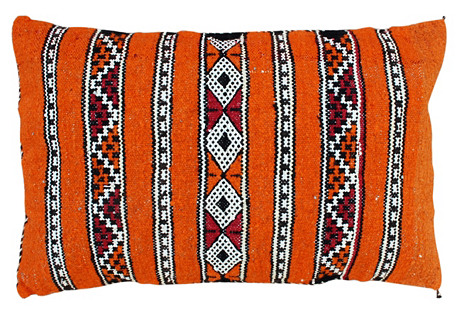 Orange Berber Pillow w/ Diamond Stripes