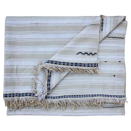 Berber Blanket w/ Ornate & Fine Stripes