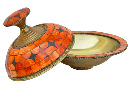 Engraved Moroccan Bowl w/ Lid