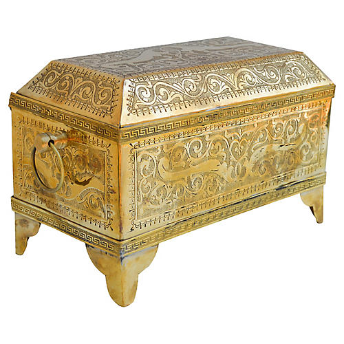 Moroccan Brass Box w/ Ornate Engravings