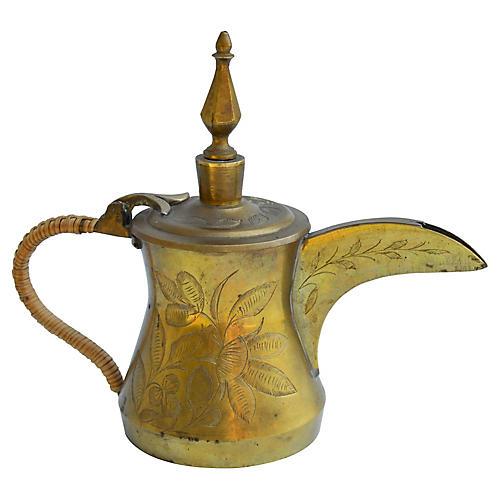 Brass Teapot w/ Floral Engravings