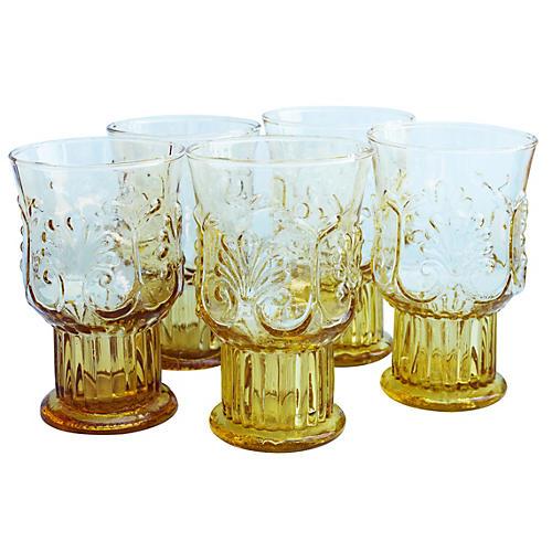 Midcentury Handblown Glasses, S/5