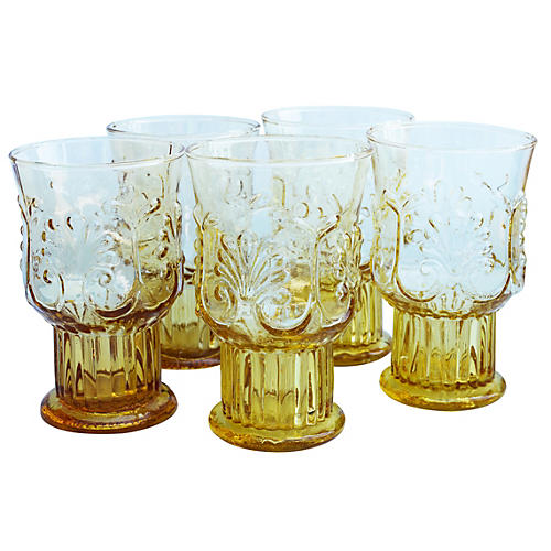 Midcentury Handblown Glasses, S/5