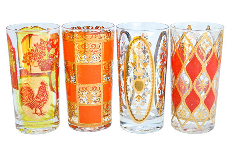 Gold & Orange Mid-Century Highballs, S/4