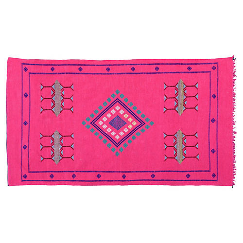 Pink & Blue Moroccan Rug, 6'6'' x 3'8''