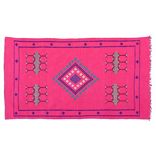 Pink & Blue Moroccan Rug, 6'6'' x 3'8''
