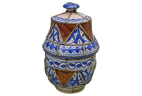 Blue Moroccan Lidded Jar w/ Engravings