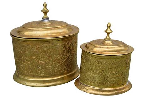 Moroccan Brass Jars w/ Engravings, S/2