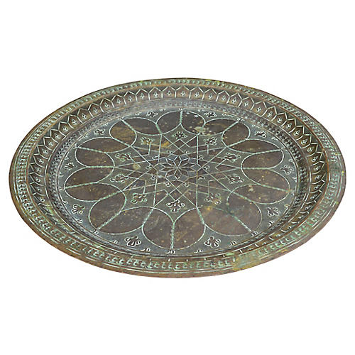 Moroccan Brass Tray w/ Fine Engravings