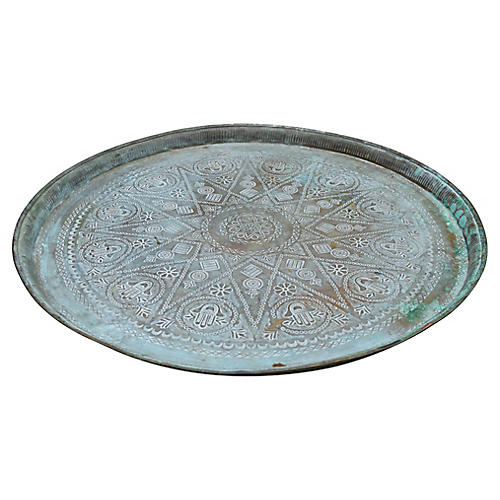 Moroccan Brass Tray w/ Engravings