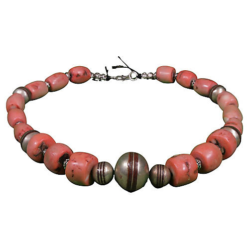Pink Coral & Silver Berber Necklace