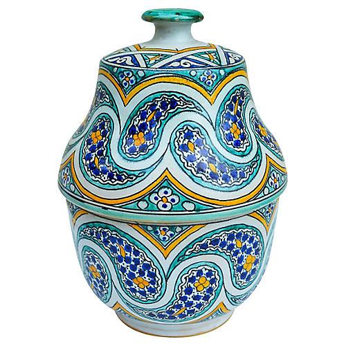 Moroccan Lidded Jar w/ Pattern