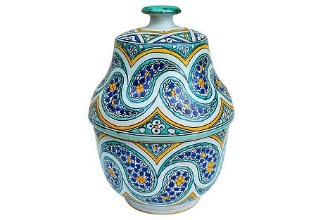 Moroccan Lidded Jar w/ Intricate Pattern