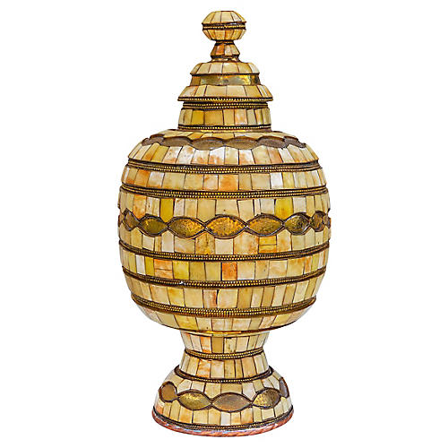 Hand-Engraved Moroccan Brass Urn w/ Lid