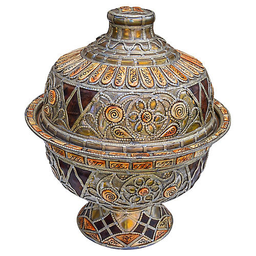 Hand-Engraved Moroccan Bowl w/ Lid