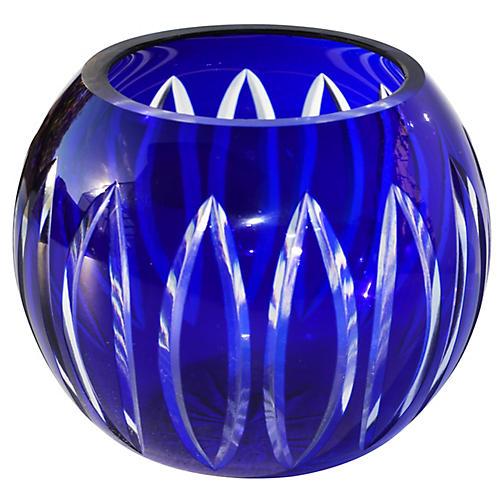 Midcentury Blue Cut-Glass Candleholder
