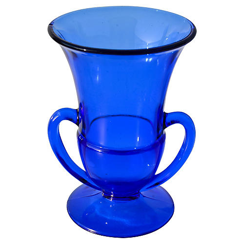 Midcentury Cobalt Blue Glass Vase