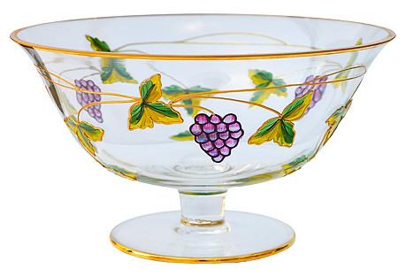 Glass Bowl w/ Gold Inlay & Grape Pattern