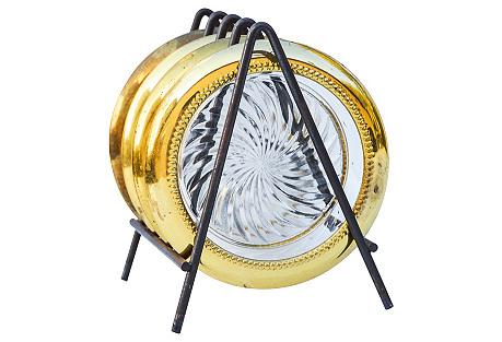 Brass & Glass Coasters w/ Holder, 5 Pcs