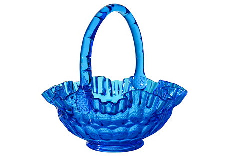 Hand-Blown Blue Art Glass Basket