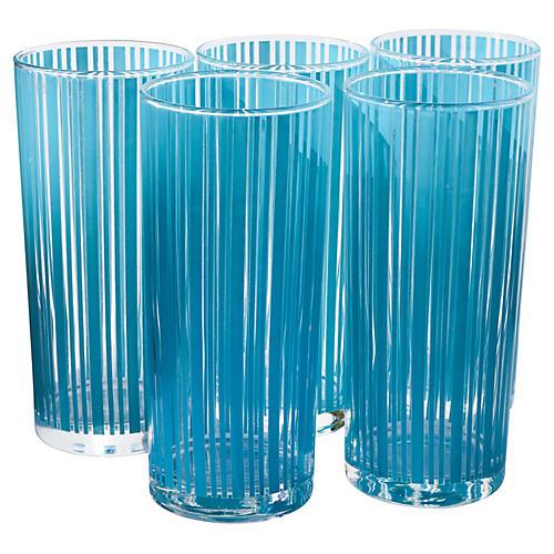 Highball Glasses w/ Blue Stripes, S/5