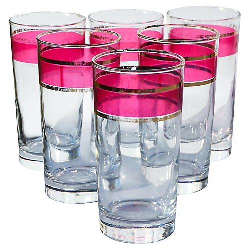 Pink-Banded Glass Tumblers, S/6