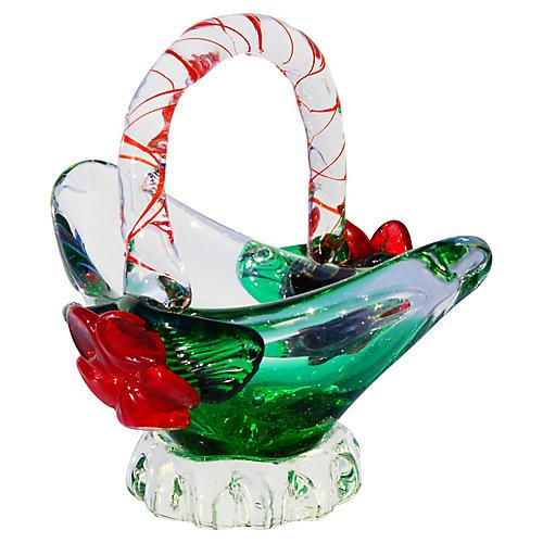 Midcentury Murano Glass Basket