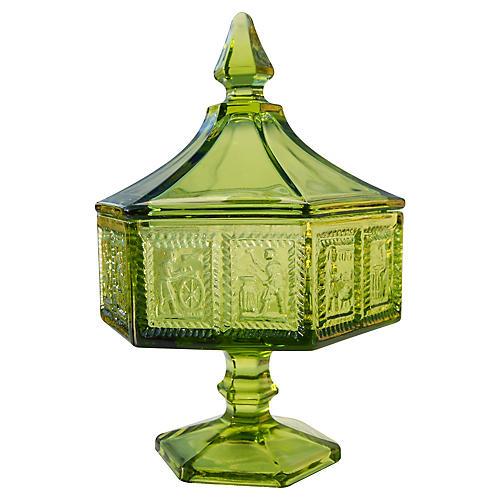 Imperial Green Glass Lidded Jar