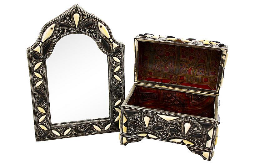 Moroccan Mirror & Chest, 2 Pcs
