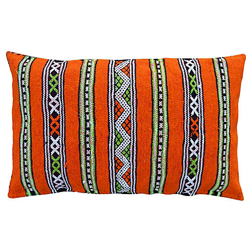 Orange Striped Moroccan Berber Pillow