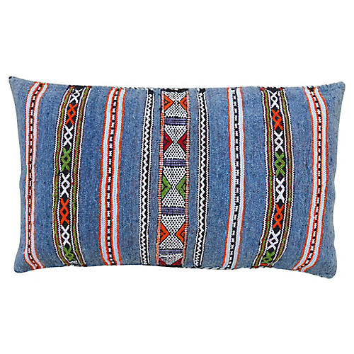 Blue Striped Moroccan Pillow