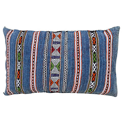 Blue Striped Moroccan Berber Pillow